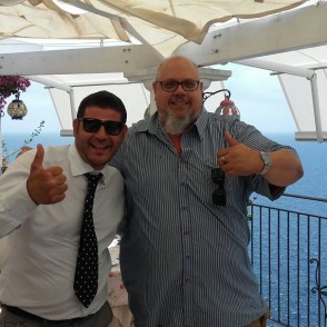Our driver with a customer