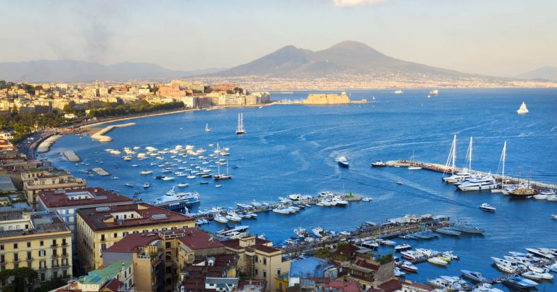 24659701 - panorama of naples, view of the port in the gulf of naples and mount vesuvius